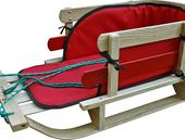 Small Wooden Sleigh w Pad - Model #8053 14.5 W x 30.5 L x 12.5 H - Canadian Made!